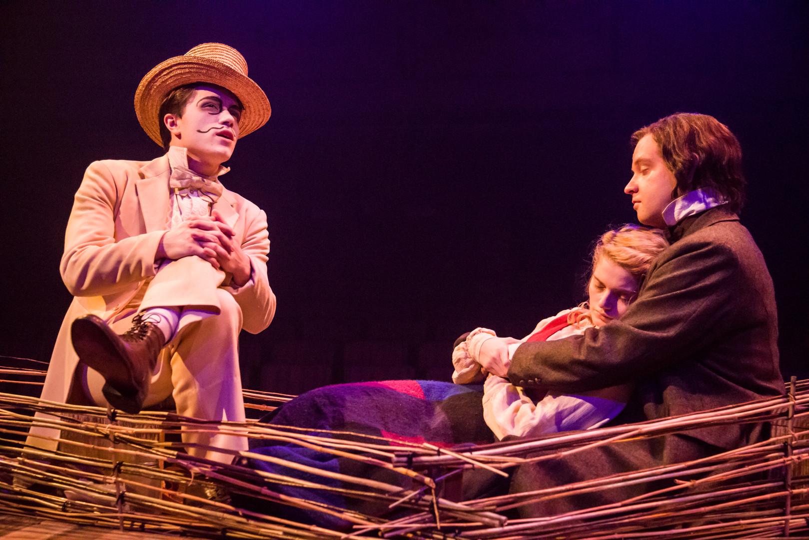 Jim Lawrenson as the White Rabbit, Eliza Shea as Alice and Luke Antony Neville as Charles Dodgson-BAM