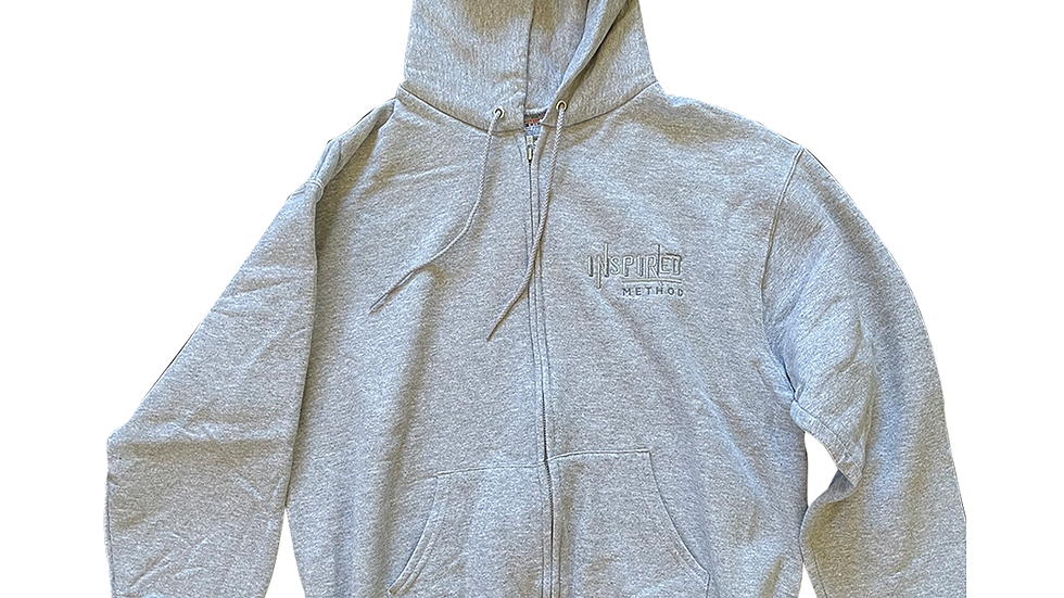 Inspired Unisex Grey Hoodie w/ Ghosted logo and Branded hood by Champio