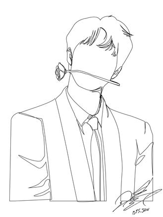 BTS Jin One-Line Drawing