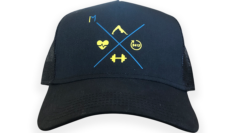 """Inspired Unisex Snap Back Trucker Hat with Blue and Gold """"4-Pillar"""" Logo"""