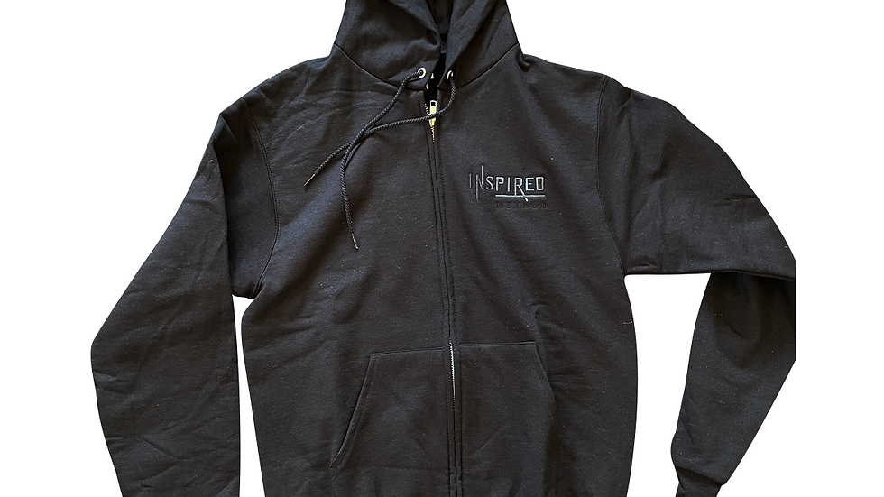 Inspired Unisex Black Hoodie w/ Ghosted logo and Branded hood by Champion