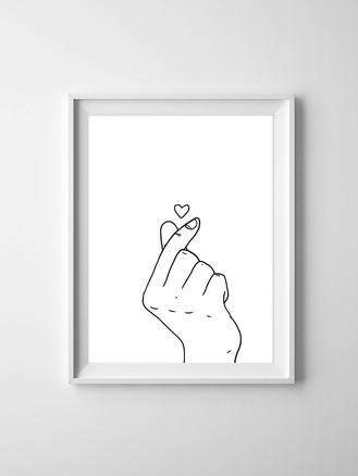 Korean Heart Fingers Minimalist Drawing