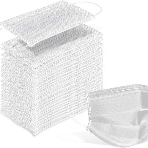 White Disposable Face Mask - Adult-Size (50pcs)