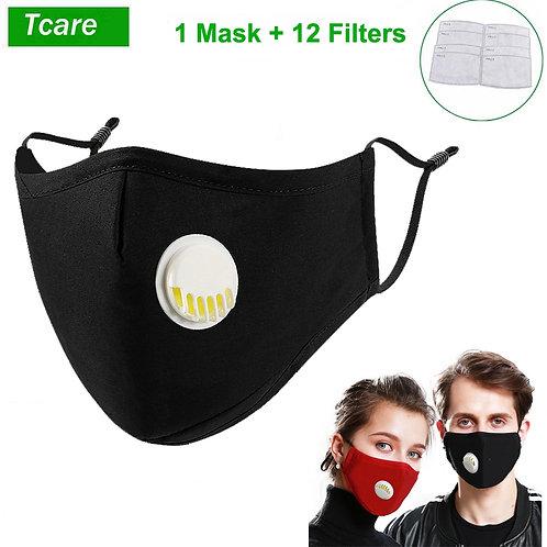 1Pc Respirator Face Mask - Washable Cotton + 12Pcs PM2.5 Activated Carbon Filter