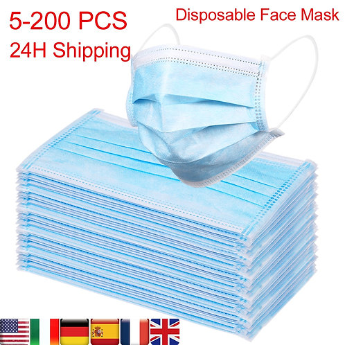 Disposable Face Mask  5-(200 Pcs) 3-Ply Soft Breathable Protective Respirator