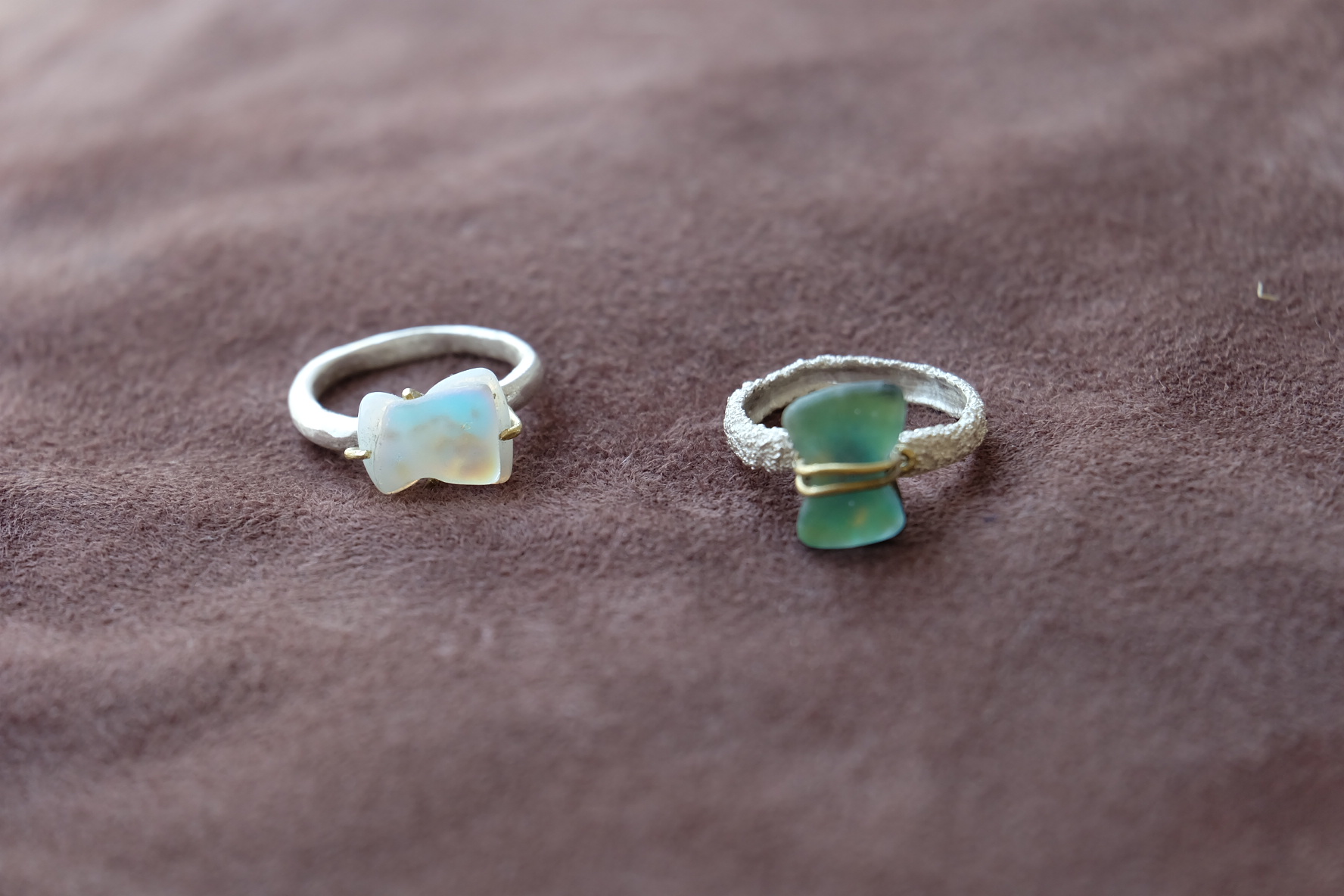 glass silver ring