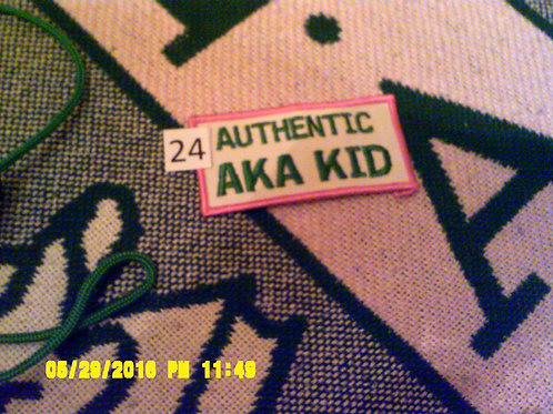 "White w/ green letters Iron/Sew-on Patch ""Authentic AKA Kid"""
