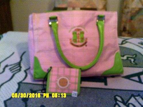 Pink Plaid AKA Leadership Bag w/ID Holder