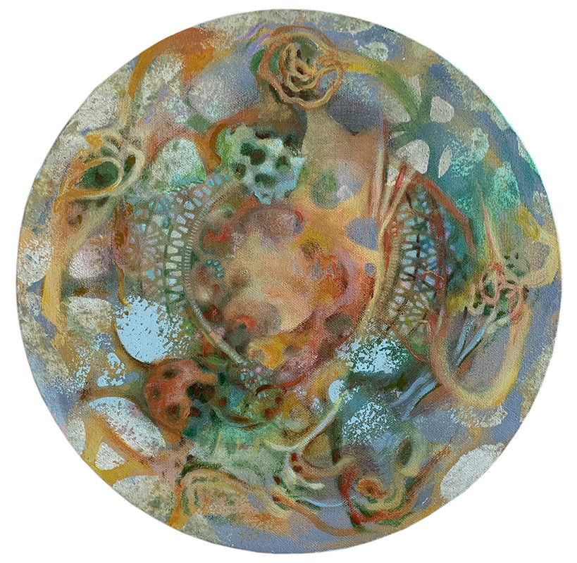 acrylic, latex on canvas 12 inches in diameter 2020