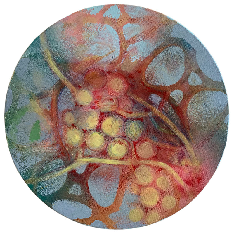 acrylic, crayon on canvas 10 inches in diameter 2020