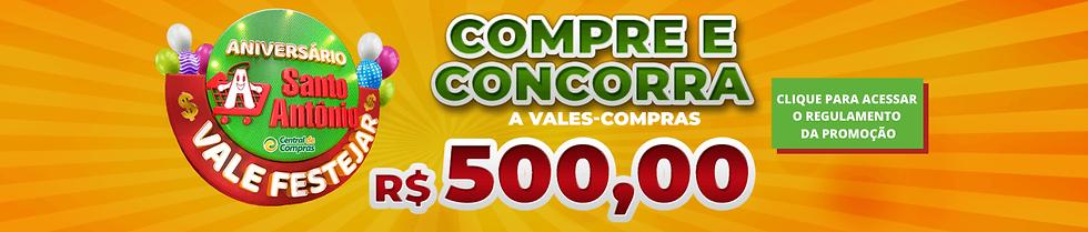 Banner da promoção Compre e Concorra a Vales-compras de 500 reais