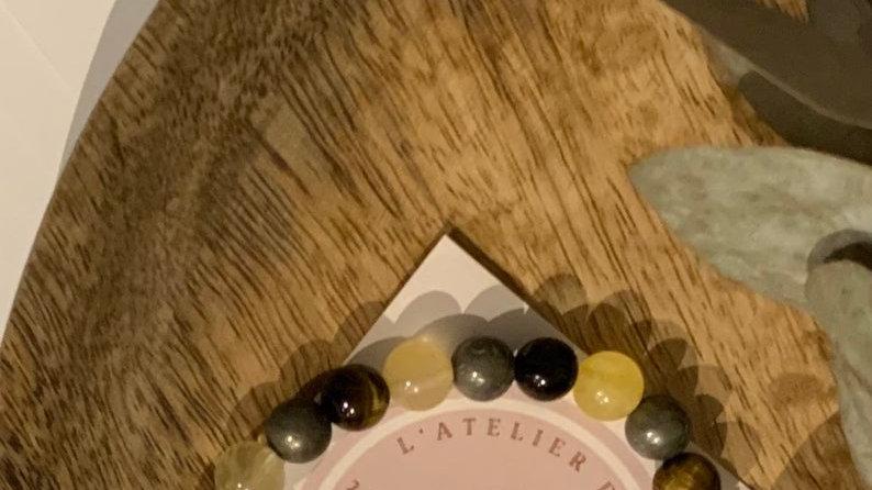 Bracelet perle de cristal • citrine • pyrite • tigres oeil • abondance