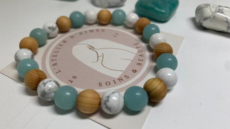 Bracelet perle de cristal •  bois de santal Amazonite Howlite