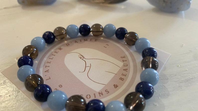 Bracelet en cristal de perles • Sodalite fumé angelite Sodalite •
