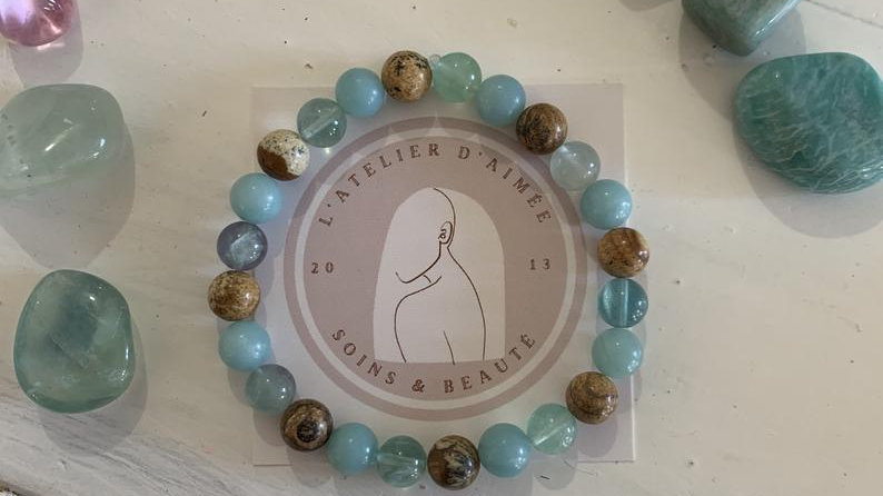 Bracelet stretch en cristal de perle • jaspe paysage amazonite fluorite
