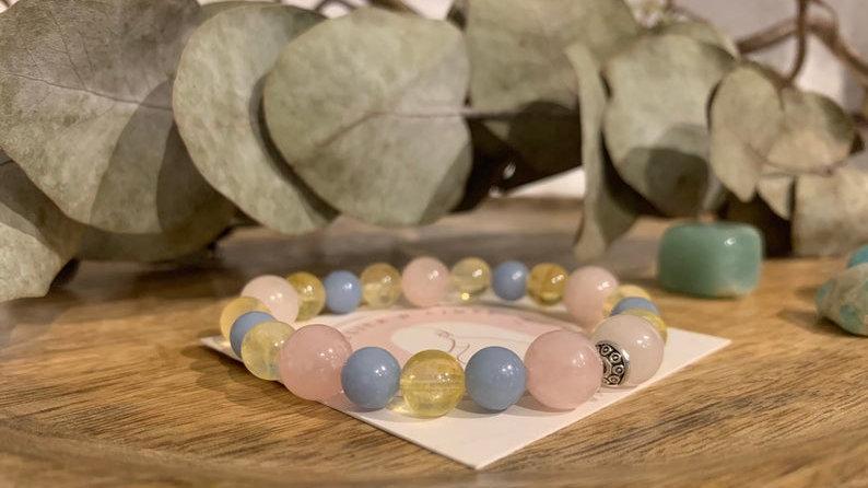 Bracelet perle de cristal • citrine • agate en dentelle bleue • quartz rose •