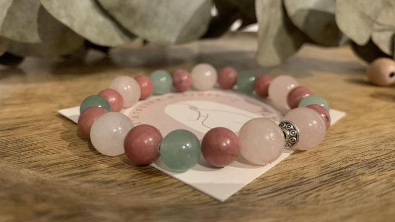 Bracelet perle de cristal • quartz rose • rhodonite • aventurine •