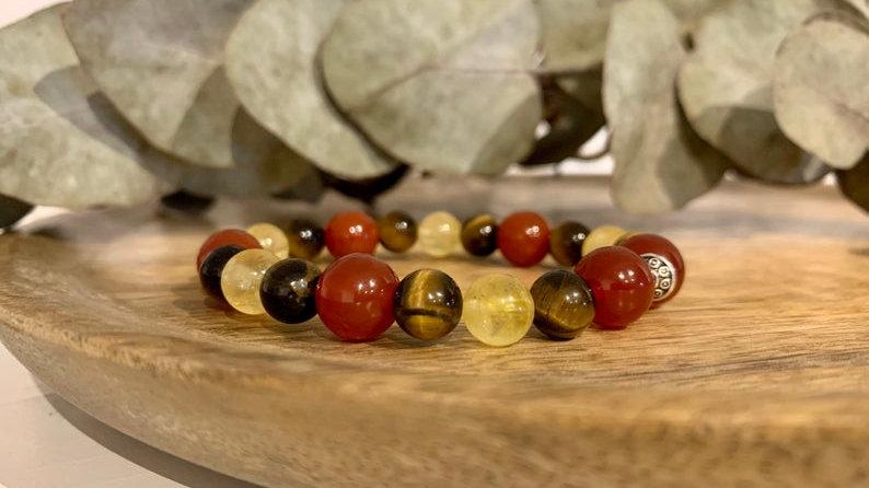 Bracelet perle de cristal • citrine • carnelian • tigres oeil •