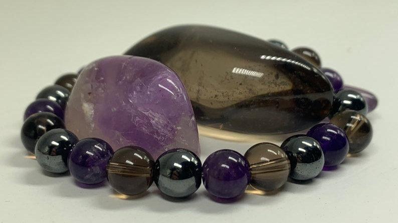 Bracelet perle de cristal • hématite fumée de quartz améthyste