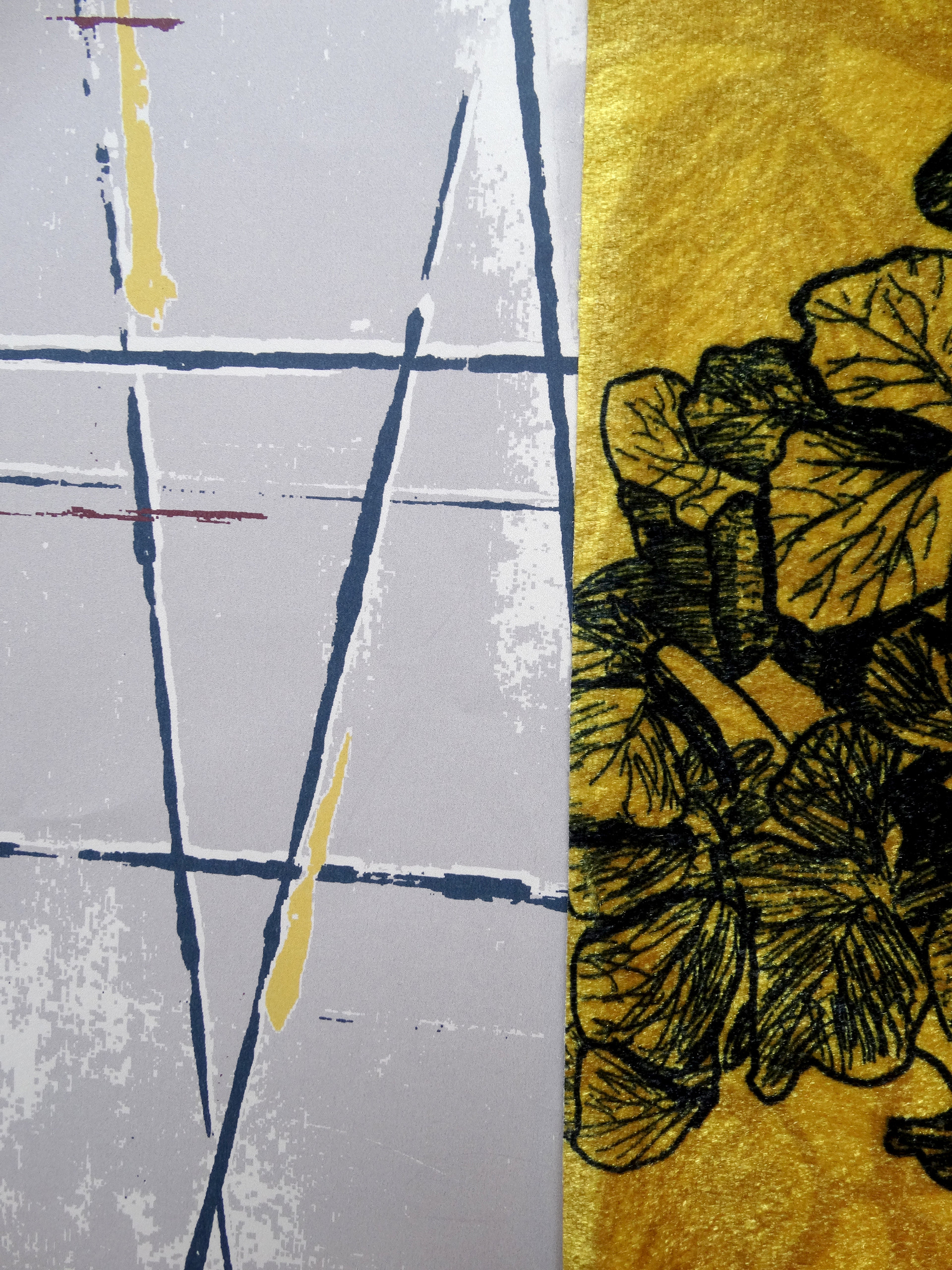 hydrangea fabric design alongside the geometric wallpaper design