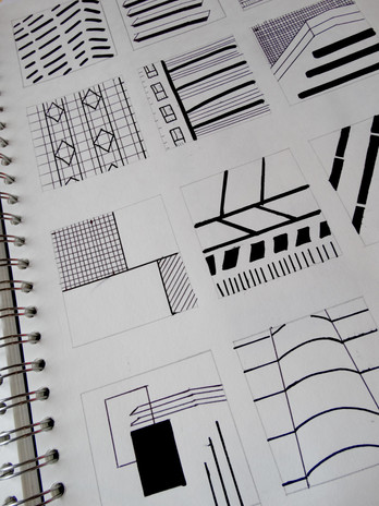 hand-drawn thumbnail illustrations, exploring line qualities and formations