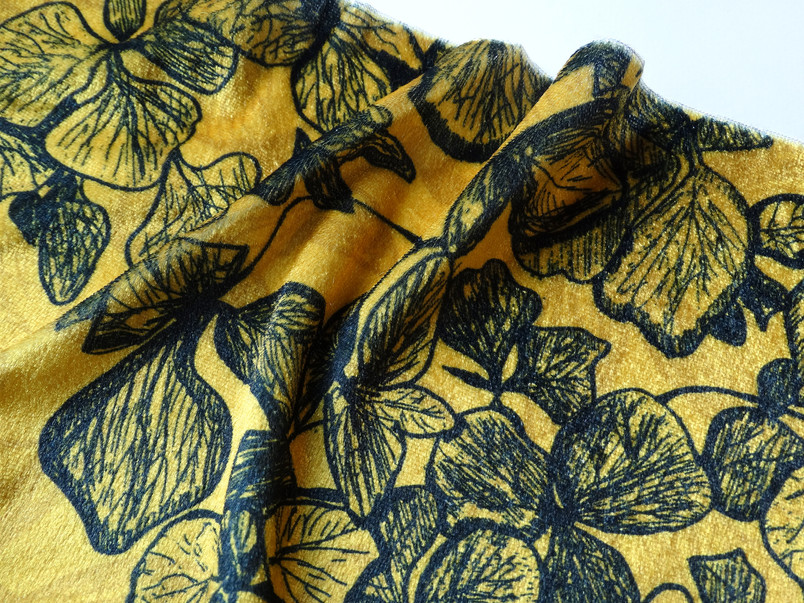 a hand drawn illustration of a dried hydrangea digitally printed onto polyester