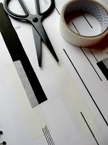 layering collaging and different hand-drawn line qualities