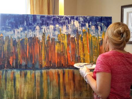 J'exposais et peindrai sur la Place du Marché public de Saint-Jean avec l'artiste Moba, same