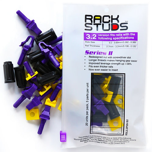 UK Rackstuds Series II 20-Pack, Purple, 3.2mm