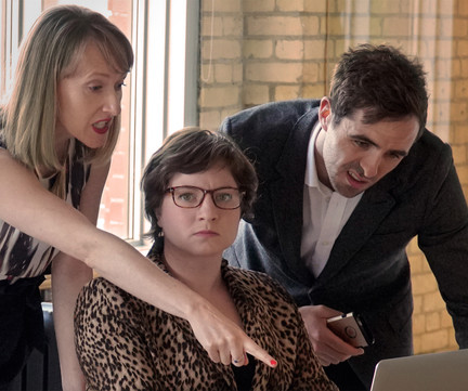 Breanna Dillon (Iris), Cass Van Wyck (Shelley), Jamie Cavanagh (Pete)