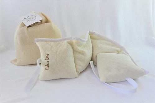Almohadilla cervical de flores de lavanda y semillas de lino
