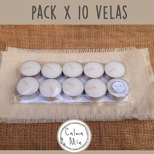 Pack de 10 velas de noche