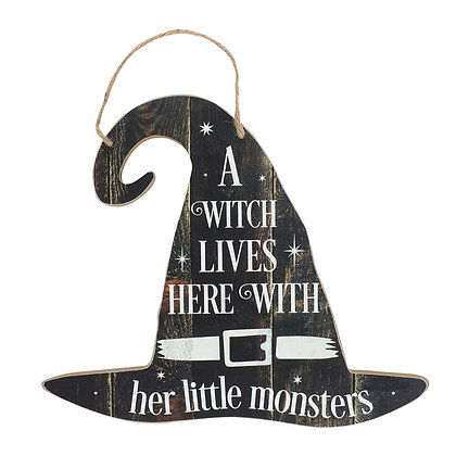 A Witch Lives Here Hanging Plaque