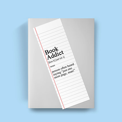 Book Addict Definition Bookmark