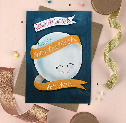 Over The Moon Greeting Card