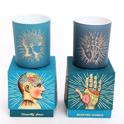 Boxed Phrenology and Palmistry Candle Pot