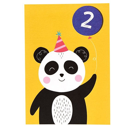 Panda 2nd Birthday Card