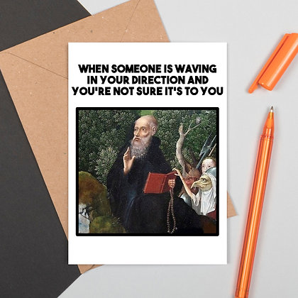 Funny Medieval Art Greeting Card - Waving