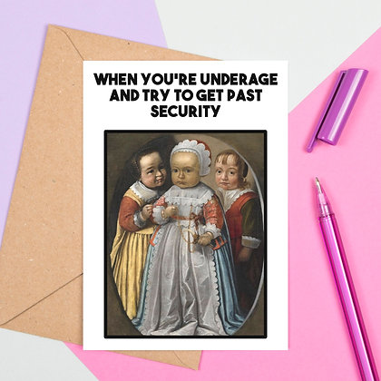 Funny Medieval Art Greeting Card - Underage