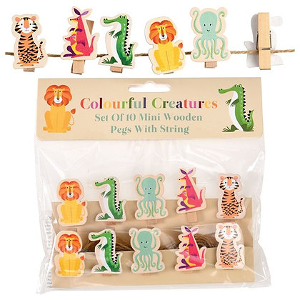 Colourful Creatures Wooden Pegs