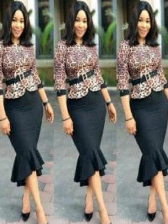 Sexy Leopard Stitching irregularfishtail dress belt