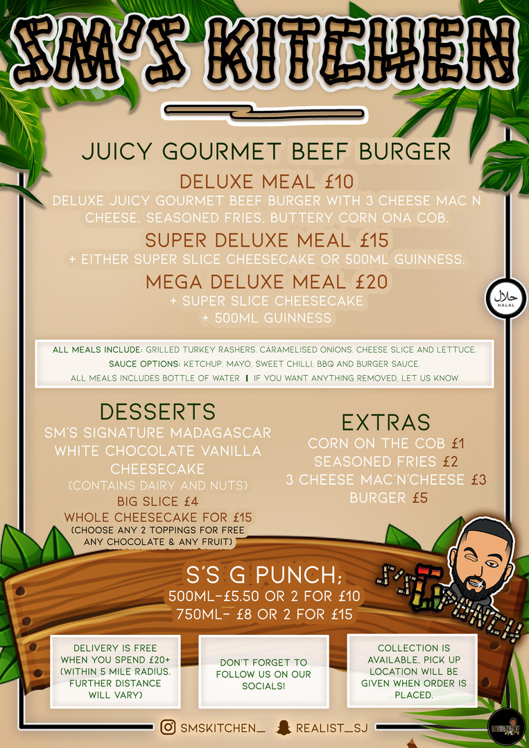 SM'S KITCHEN MENU