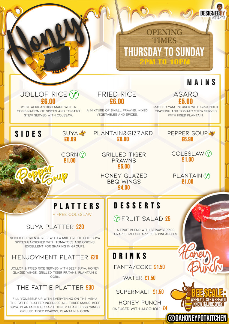 HONEY POT MENU