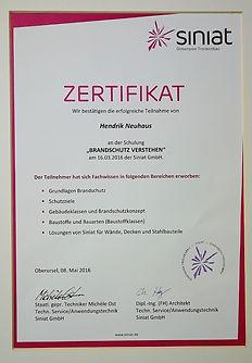 Neuhaus Siniat Zertifikat Brandschutz
