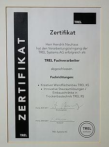 Neuhaus Trel Zertifikat