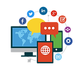 graphic with social icons and computer and phone