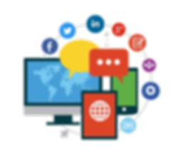 techonology graphic with social media icons and devices