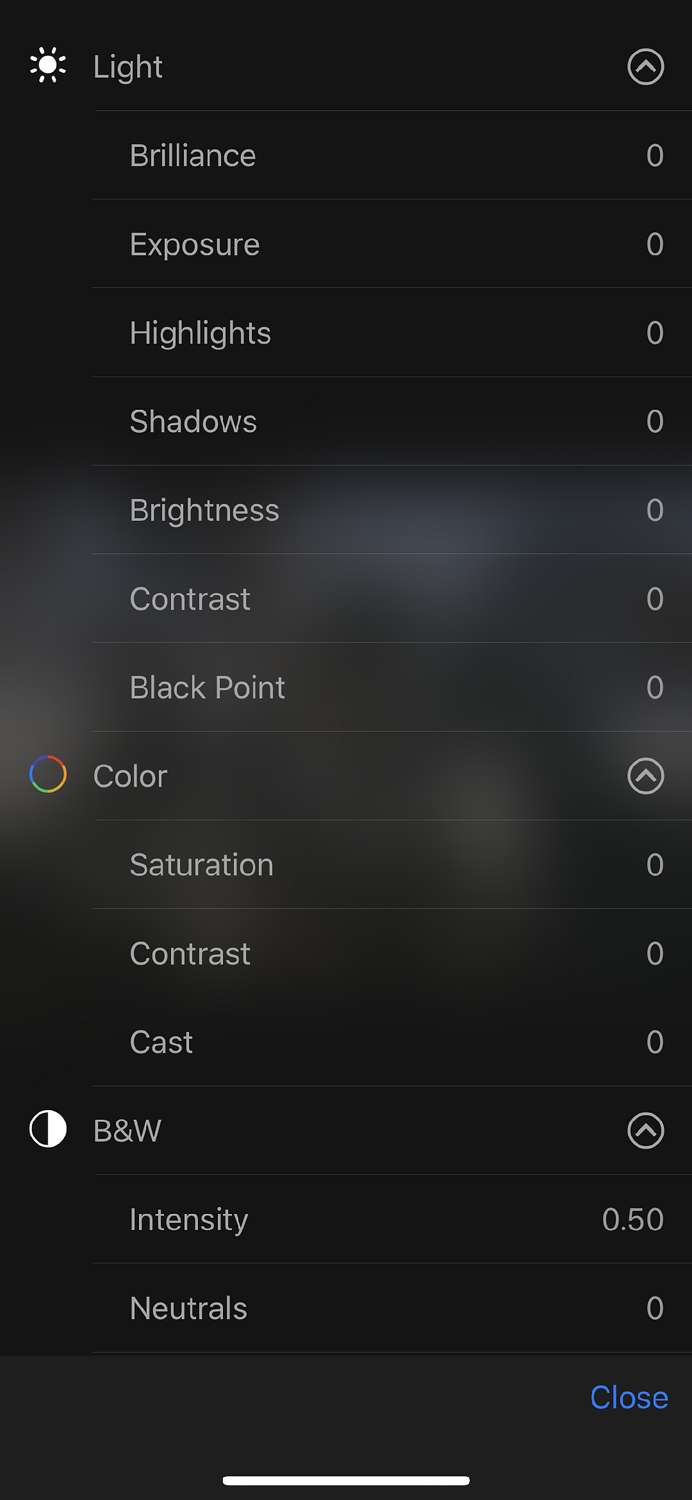 IPhone light color black and white edit options picture