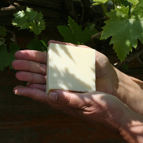 Castile soap in hands view