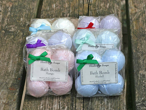 A set of six bath bomb pack. You can choose you own fragrances to have in the pack.